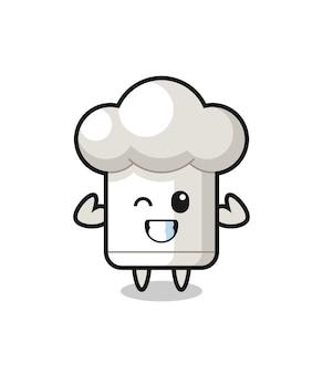 O personagem de chapéu de chef musculoso está posando mostrando seus músculos, design de estilo fofo para camiseta, adesivo, elemento de logotipo