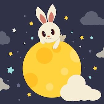 O personagem de coelho bonito sentado na lua cheia.