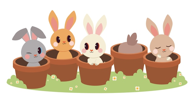 O personagem de coelho bonito sentado no vaso de plantas.