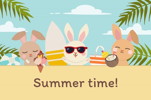 O personagem de coelho fofo com amigos na festa na praia para o horário de verão em estilo simples.