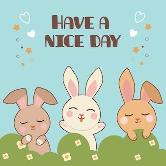 O personagem de coelho fofo e amigos em pé no mato com texto de tenha um bom dia.