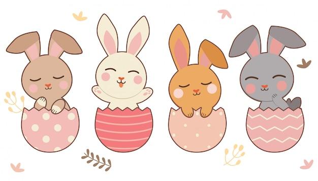 O personagem de coelho fofo e amigos sentado no ovo de páscoa