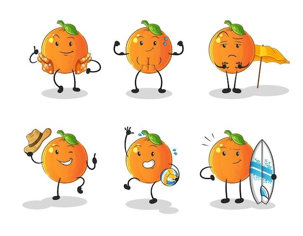 O personagem de conjunto de férias de praia de laranja. mascote dos desenhos animados