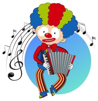 O personagem de desenho animado de um palhaço toca acordeão com símbolos de melodia musical