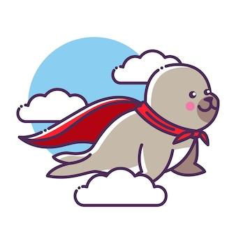 O personagem de desenho animado do selo voando no ar usando uma capa vermelha como um super-herói