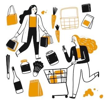 O personagem de desenho de pessoas às compras.
