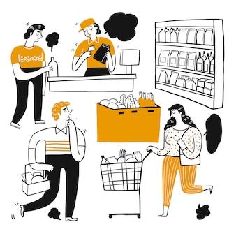 O personagem de desenho de pessoas no supermercado.
