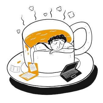 O personagem de desenho um homem na xícara de café.