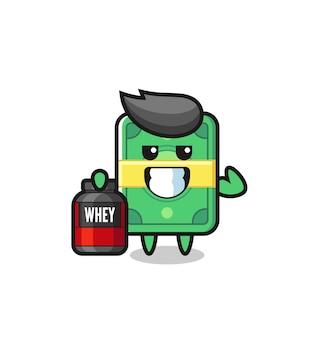 O personagem de dinheiro musculoso está segurando um suplemento de proteína, design de estilo fofo para camiseta, adesivo, elemento de logotipo