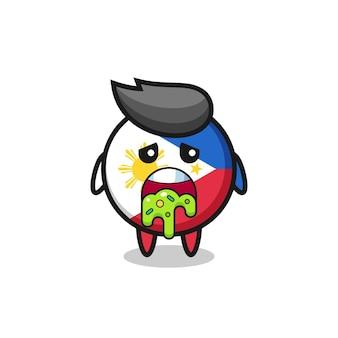 O personagem de distintivo de bandeira filipina fofa com vômito, design de estilo fofo para camiseta, adesivo, elemento de logotipo