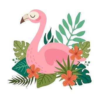 O personagem de flamingo fofo com flor e folha tropical em fundo branco. o personagem de flamingo fofo sentado sobre o conjunto de flores tropicais. o personagem de flamingo fofo no apartamento