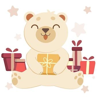 O personagem de fofo urso polar branco com uma caixa de presente