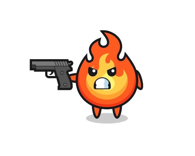 O personagem de fogo fofo atira com uma arma, design de estilo fofo para camiseta, adesivo, elemento de logotipo