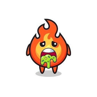 O personagem de fogo fofo com vômito, design de estilo fofo para camiseta, adesivo, elemento de logotipo