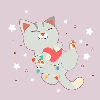 O personagem de gato bonito, abraçando um coração com lâmpada