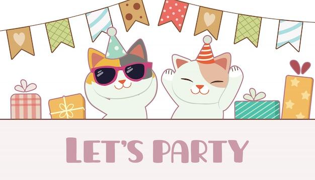 O personagem de gato bonito com amigo dançando para a festa de aniversário. t
