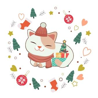 O personagem de gato bonito com caixa de presente e pequena árvore de natal em branco com estrela e coração. o personagem de gato bonito em estilo simples.