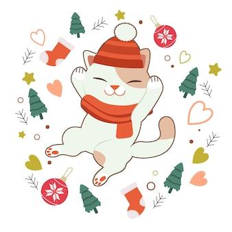 O personagem de gato bonito dormindo com árvore de natal e bola e meia e estrela e coração