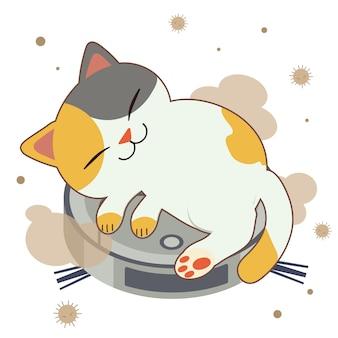 O personagem de gato bonito dormindo no aspirador de pó robô.