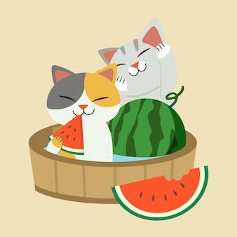 O personagem de gato bonito eatting uma melancia vermelha e sentado no barril. o verão em estilo japonês com o gato