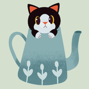 O personagem de gato bonito sentado no bule de chá verde.