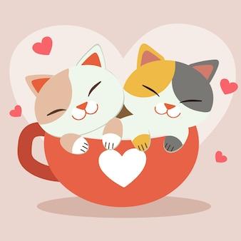 O personagem de gato bonito sentado no copo grande com coração rosa