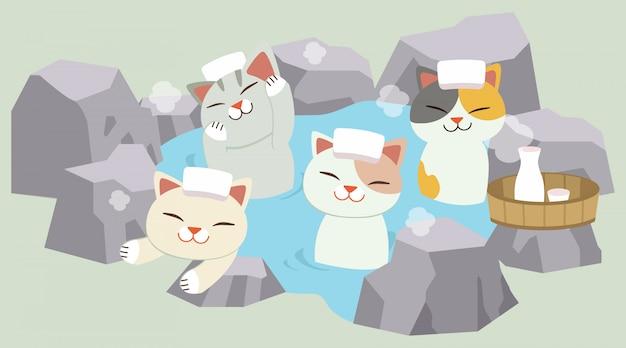 O personagem de gato bonito tomar um banho quente de primavera japonesa. o gato tomando um onsen. parece feliz e relaxante