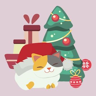 O personagem de gato bonito usa chapéu de inverno com árvore de natal e bola de natal e caixa de presente. o gato e o grande chapéu de inverno. o personagem de gato bonito em estilo simples.