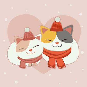 O personagem de gato bonito usa um cachecol e chapéu de inverno no fundo rosa com coração