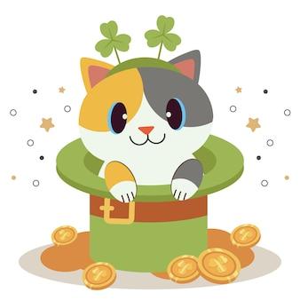 O personagem de gato bonito usa uma faixa de cabelo de folha de trevo sentado na cartola com dinheiro