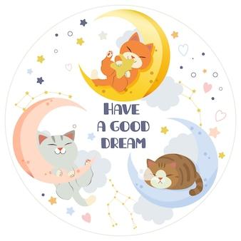 O personagem de gato fofo e amigos dormindo na lua com estrela