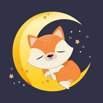 O personagem de giro raposa dormindo na meia-lua com uma estrela. a raposa bonitinha relaxante na lua. o personagem de giro raposa no estilo de vetor plana.