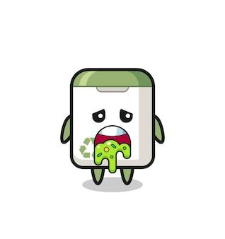 O personagem de lata de lixo fofo com vômito, design de estilo fofo para camiseta, adesivo, elemento de logotipo