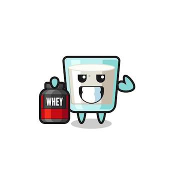 O personagem de leite musculoso está segurando um suplemento de proteína, design de estilo fofo para camiseta, adesivo, elemento de logotipo