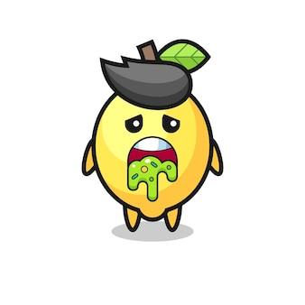O personagem de limão fofinho com vômito, design de estilo fofo para camiseta, adesivo, elemento de logotipo
