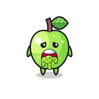 O personagem de maçã verde fofa com vômito, design de estilo fofo para camiseta, adesivo, elemento de logotipo