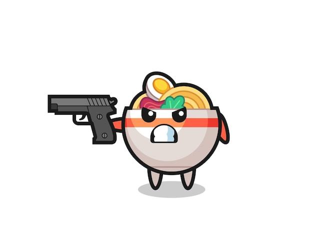O personagem de macarrão fofo atirar com uma arma, design de estilo fofo para camiseta, adesivo, elemento de logotipo