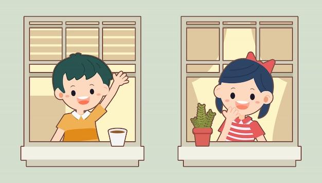 O personagem de menino e menina falando deles quarto junto à janela.