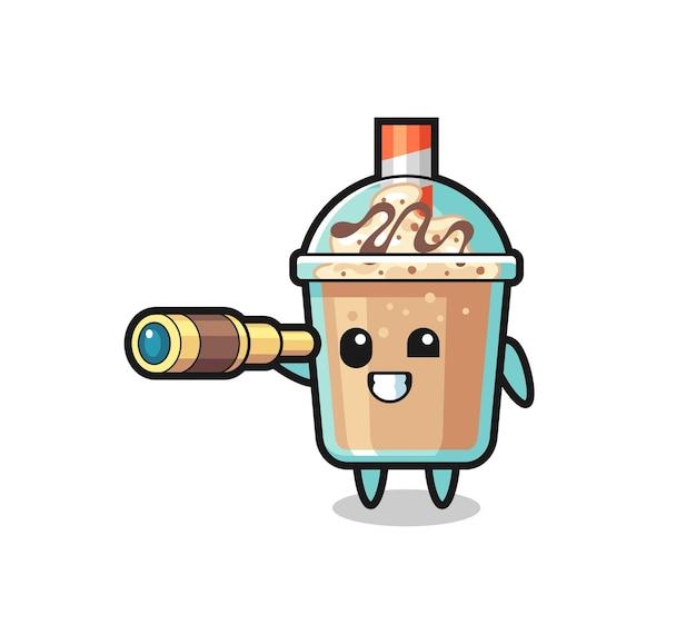 O personagem de milk-shake fofinho está segurando um telescópio antigo, design de estilo fofo para camiseta, adesivo, elemento de logotipo