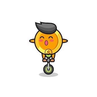 O personagem de moeda de dólar fofo está andando de bicicleta de circo, design de estilo fofo para camiseta, adesivo, elemento de logotipo