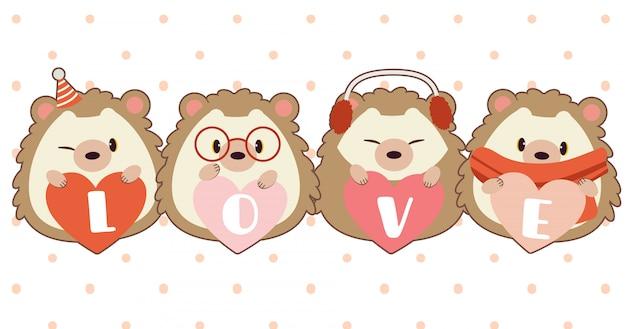 O personagem de ouriço fofo com coração e texto de amor
