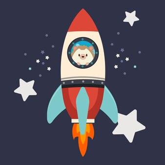 O personagem de ouriço fofo fica na grande nave espacial