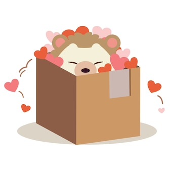 O personagem de ouriço fofo na caixa e jogar um coração