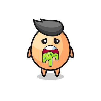 O personagem de ovo fofo com vômito, design de estilo fofo para camiseta, adesivo, elemento de logotipo