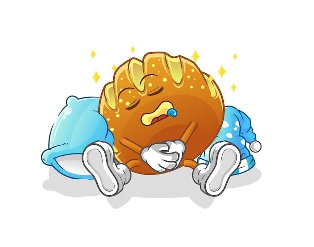 O personagem de pão dormindo. mascote dos desenhos animados