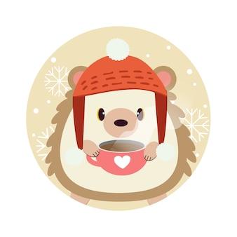 O personagem de pé bonito ouriço no círculo amarelo com floco de neve.