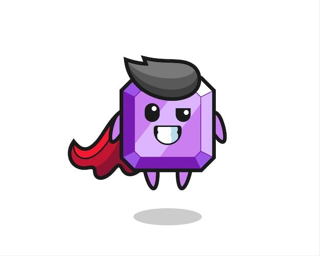 O personagem de pedra preciosa roxa fofa como um super-herói voador, design de estilo fofo para camiseta, adesivo, elemento de logotipo