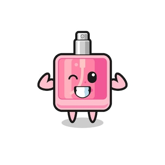 O personagem de perfume musculoso está posando mostrando seus músculos, design de estilo fofo para camiseta, adesivo, elemento de logotipo