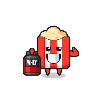 O personagem de pipoca musculoso está segurando um suplemento de proteína, design de estilo fofo para camiseta, adesivo, elemento de logotipo