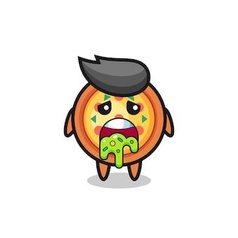 O personagem de pizza fofo com vômito, design de estilo fofo para camiseta, adesivo, elemento de logotipo